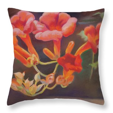 Trumpet Flowers Throw Pillow
