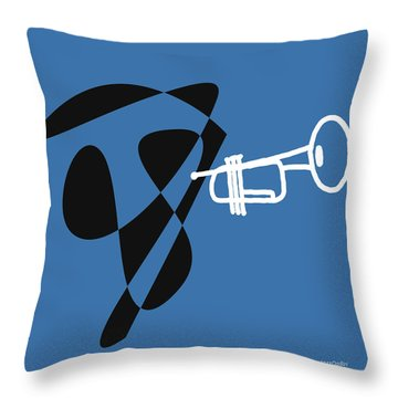 Throw Pillow featuring the digital art Trumpet In Blue by Jazz DaBri
