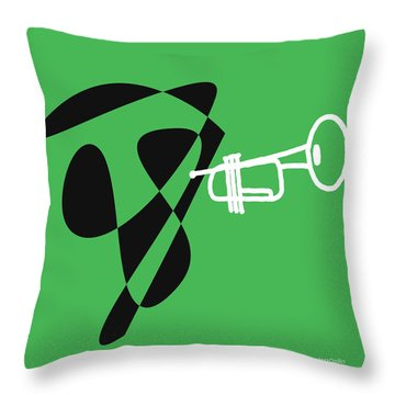 Throw Pillow featuring the digital art Trumpet In Green by Jazz DaBri