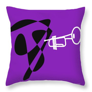 Throw Pillow featuring the digital art Trumpet In Purple by Jazz DaBri
