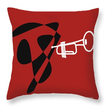Throw Pillow featuring the digital art Trumpet In Orange Red by Jazz DaBri