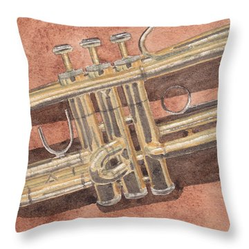 Trumpet Throw Pillow by Ken Powers