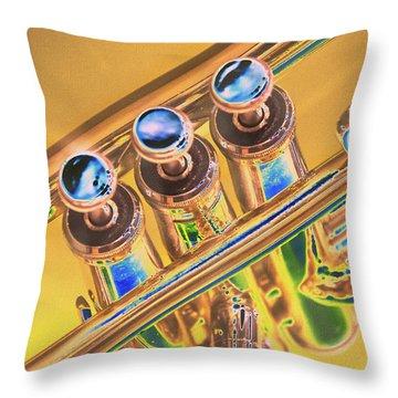 Trumpet Keys Throw Pillow