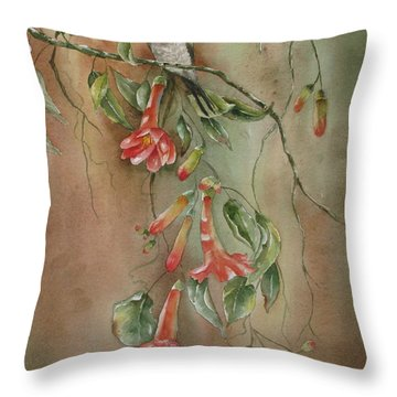 Throw Pillow featuring the painting Trumpet Nectar by Mary McCullah