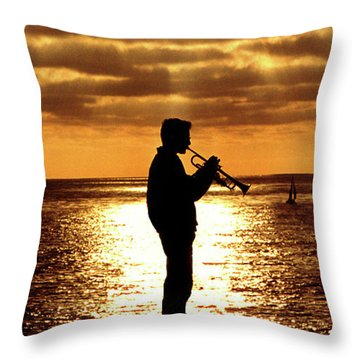 Trumpet Player Throw Pillow by Linda Olsen