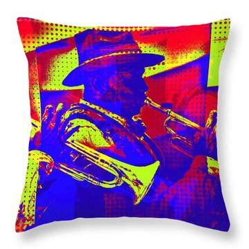 Trumpet Player Pop-art Throw Pillow