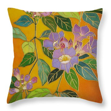 Trumpet Vine Cloisonne Throw Pillow by Karen  Sioson