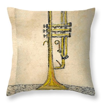 Trumpet Throw Pillow by Walter Chamberlain