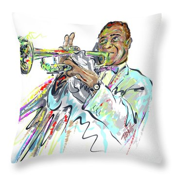 Music Trumpeter Louis Armstrong Throw Pillow