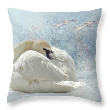Trumpeter Textures #1 - Swan Feather Throw Pillow