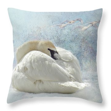 Throw Pillow featuring the photograph Trumpeter Textures #1 - Swan Feather by Patti Deters