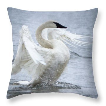 Throw Pillow featuring the photograph Trumpeter Swan - Misty Display 2 by Patti Deters