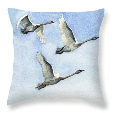 Throw Pillow featuring the painting Trumpeter Swan Study by Kris Parins