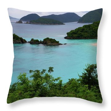 Trunk Bay At U.s. Virgin Islands National Park Throw Pillow by Jetson Nguyen