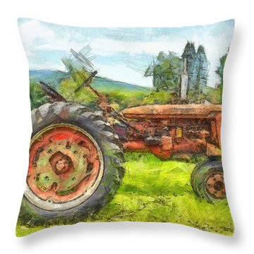 Trusty Old Red Tractor Pencil Throw Pillow