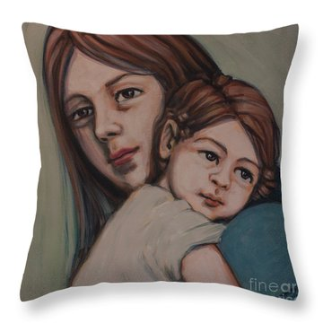 Throw Pillow featuring the painting Trying To Remember by Olimpia - Hinamatsuri Barbu