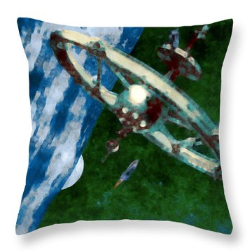 Tsiolkovsky Station In Earth Orbit Throw Pillow