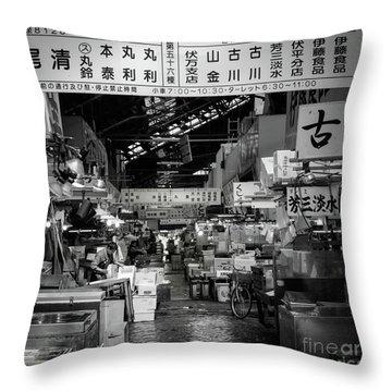 Tsukiji Shijo, Tokyo Fish Market, Japan Throw Pillow