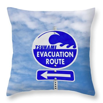 Tsunami Evacuation Route Sign Throw Pillow