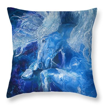 Tsunami Water Horse Throw Pillow