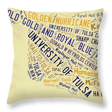 Tu Word Art University Of Tulsa Throw Pillow by Roberta Peake