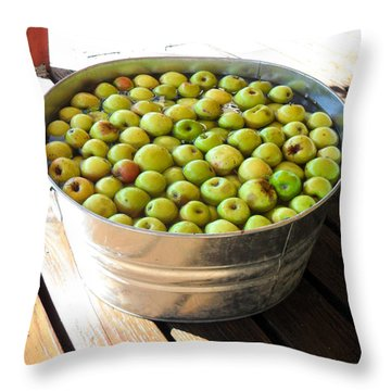 Tub Of Fuji Apples Throw Pillow