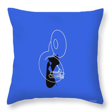 Throw Pillow featuring the digital art Tuba In Blue by Jazz DaBri