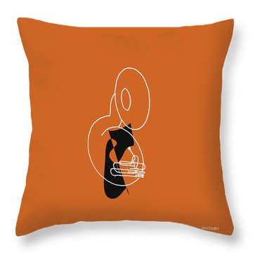 Throw Pillow featuring the digital art Tuba In Orange by Jazz DaBri