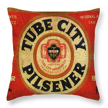 Throw Pillow featuring the digital art Tube City Pilsner by Greg Sharpe