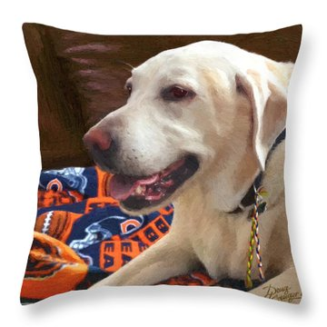 Throw Pillow featuring the painting Tucker by Doug Kreuger