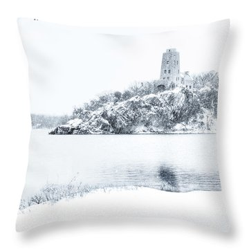 Tucker's Tower In Winter Throw Pillow by Tamyra Ayles