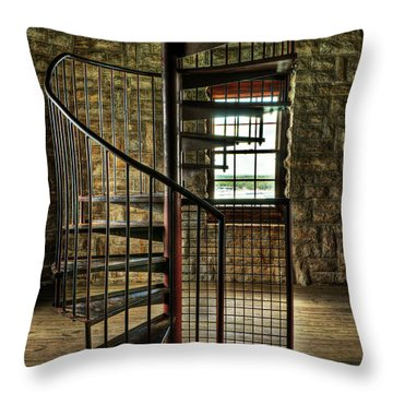 Throw Pillow featuring the photograph Tucker's Tower Spiral Staircase by Tamyra Ayles