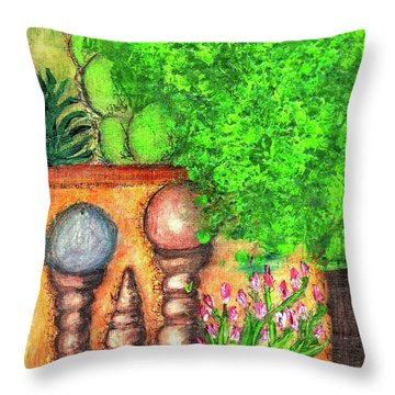 Throw Pillow featuring the painting Tucson Garden by Kim Nelson