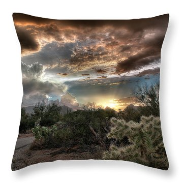 Tucson Mountain Sunset Throw Pillow by Lynn Geoffroy