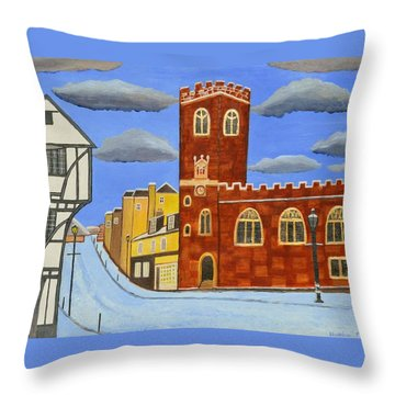 Tudor House In Exeter  Throw Pillow