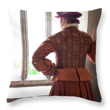 Tudor Man At The Window Throw Pillow by Lee Avison