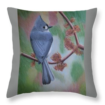 Throw Pillow featuring the painting Tufted Ear Titmouse by Joseph Ogle