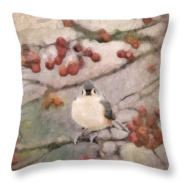 Tufted Titmouse Throw Pillow by Betty LaRue