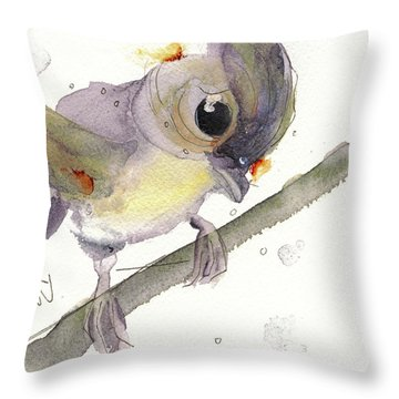 Throw Pillow featuring the painting Tufted Titmouse by Dawn Derman
