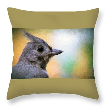 Tufted Titmouse Throw Pillow by Diane Giurco