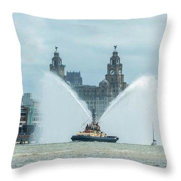 Tug Boat Fountain Throw Pillow