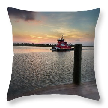Tug Boat Sunset Throw Pillow
