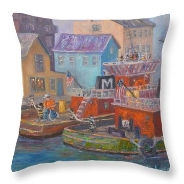 Tug Boats Portsmouth Maritime Painting Throw Pillow
