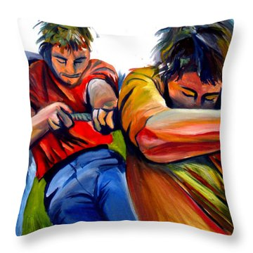 Throw Pillow featuring the painting Tug Of War by John Jr Gholson