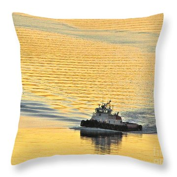 Tugboat At Sunset Throw Pillow