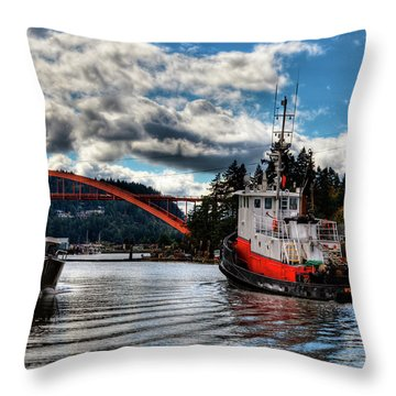 Tugboat At The Rainbow Bridge Throw Pillow by David Patterson