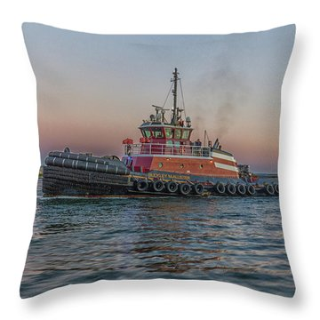 Tugboat Buckley Mcallister At Sunset Throw Pillow
