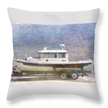 Throw Pillow featuring the painting Tugboat by Cynthia Powell