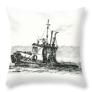 Tugboat Lela Foss Throw Pillow by James Williamson