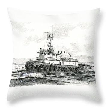 Tugboat Sandra Foss Throw Pillow by James Williamson
